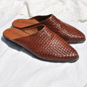 NOS The Leather Collection Woven Leather Mules